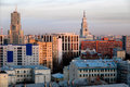 Moscow skyline at the sunset russia view to from above Stock Photography