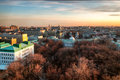 Moscow skyline at the sunset russia view to from above Royalty Free Stock Images