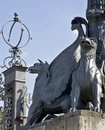 Moscow statue of gryphon in mansion kuzminki Royalty Free Stock Images