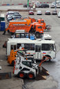 Moscow street cleaning technic parking of the autos near kremlin Stock Images