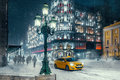 Moscow street. Winter landscape during snowstorm. Royalty Free Stock Photo