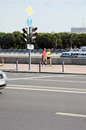 Moscow streets sunny day frunze embankment russia summer heat august Stock Photography