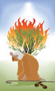 Moses and the burning bush bent down infront of as god speaks Royalty Free Stock Photo