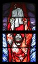 Moses, Crossing the Red Sea, detail of stained glass window in Saint James church in Sontbergen, Germany