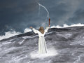 Moses Parting Red Sea Illustration Royalty Free Stock Photo