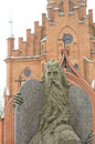 Moses Statue and Kernave church Royalty Free Stock Photo