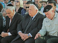 Moshe katsav and ariel sharon president prime minister attend a memorial ceremony at mount herzl cemetery in jerusalem on july Royalty Free Stock Photos