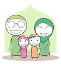 Moslem family illustration eps Royalty Free Stock Photo
