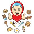 Moslem girl with food illustration Royalty Free Stock Photo