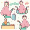 Moslem girls shopping set illustration Royalty Free Stock Photo