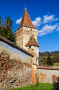 Mosna fortified church transylvania romania tower of has one of the most beautiful and biggest churches in the tarnave Royalty Free Stock Image