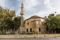Mosque in harbour of old town rhodes greece view Stock Photo