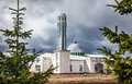 Mosque in kyrgyzstan at overcast cloudy sky cholpon ata Royalty Free Stock Image