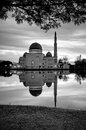 Mosque by the lakeside black and white shot of as salam puchong malaysia Stock Photo