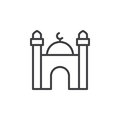 Mosque line icon, outline vector sign, linear style pictogram isolated on white.