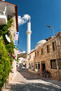 Mosque minaret in bozburun centrum centrumin summer day Stock Photography