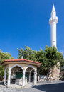 Mosque rhodes island greece the with its single minaret tower in Royalty Free Stock Image