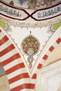 Mosque Samii 1437 - 1447 in the city of Edirne in Turkey. Traditional Turkish painting on the dome Royalty Free Stock Photo