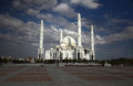 Mosque under dark clouds. Kazakhstan. Astana Royalty Free Stock Photo