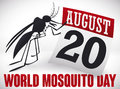 Mosquito and Calendar Paper for World Mosquito Day, Vector Illustration