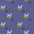 Mosquito pattern funny seamless with mosquitoes Royalty Free Stock Images