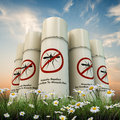 Mosquito repellent spray cans on white background Stock Photos