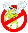 Mosquito warning sign vector illustration of a Royalty Free Stock Image