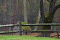 Moss covered wooden fence separating the property lines of a loc Royalty Free Stock Photo
