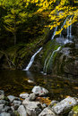 Moss Glen Falls - Waterfall and Fall / Autumn Colors - Vermont Royalty Free Stock Photo