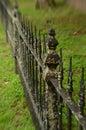 Mossy weathered vintage iron fence