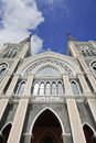 The most beautiful catholic church chanthaburi pr was built into gothic architecture with stained glass decorations depicting Royalty Free Stock Image