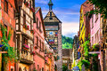 Most beautiful villages of France - Riquewihr in Alsace. Famous Royalty Free Stock Photo