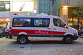 Most commonly seen police vehicles in hong kong the form of van by mercedes benz sprinter it is white with a blue and red Royalty Free Stock Photo