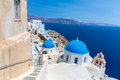 The most famous church on Santorini Island,Crete, Greece. Royalty Free Stock Photo