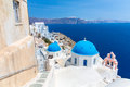 The most famous church on Santorini Island,Crete, Greece. Stock Photo