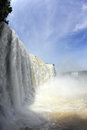 The most high water waterfall iguazu in world white whipped foam of and a thin mist over photo taken by lens Stock Photo