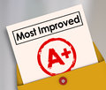 Most Improved Report Card Grade Score Increase Better Results Royalty Free Stock Photo