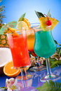 Most popular cocktails series - Mai Tai, Blue Hawa Royalty Free Stock Photos