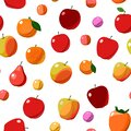 The most popular red and orange fruits are fruit trees. Seamless background image. Isolated. Cartoon flat style. Apples Royalty Free Stock Photo