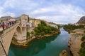 Mostar bosnia and herzegovina september people walking on old bridge in Royalty Free Stock Photo