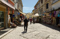 Mostar a street bosnia and herzegovina may tourist walks along full of shops in the historic center of in bosnia and Royalty Free Stock Photo