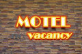 Motel and no vacancy neon sign red hr Royalty Free Stock Image