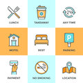 Motel services line icons set with flat design elements of accommodation small hotel general amenities parking and no smoking sign Stock Image