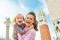 Mother and baby against campanile di san marcop portrait of happy marco in venice italy Stock Photography