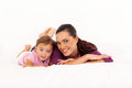 Mother baby on bed Royalty Free Stock Photo