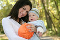 Mother and Baby Boy with Pumpkin - Fall Theme Stock Images