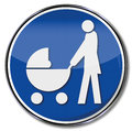 Mother with baby carriage an family policy Stock Photo