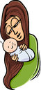 Mother with baby cartoon illustration of her cute Stock Image