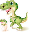 Mother and baby dinosaur hatching. illustration