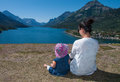 Mother and Baby Enjoying Beautiful View Stock Image